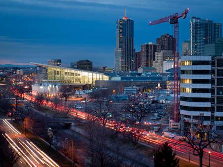 16th street mall: Denver skyline at blue hour.