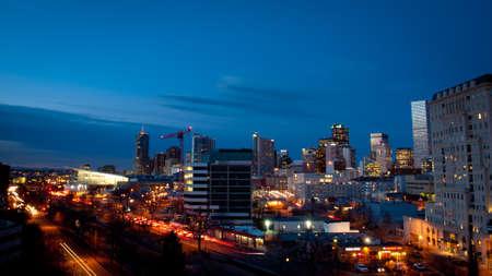 denver at sunrise: Denver skyline at blue hour.
