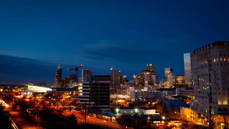 Denver skyline at blue hour.
