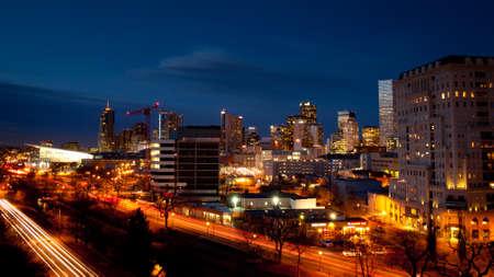 Denver skyline at blue hour.