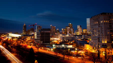 denver city skyline: Denver skyline at blue hour.