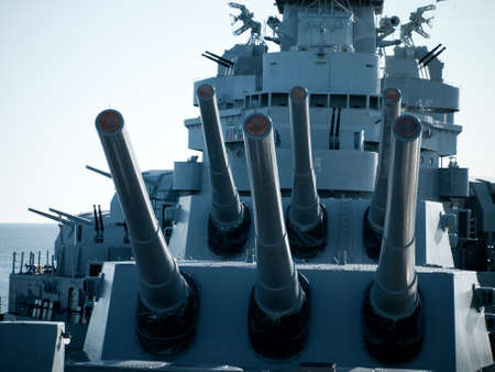 a battleship: Battleship of US Navy at the museum in Mobile, AL.