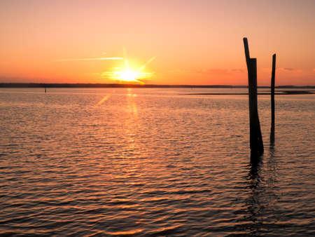 winter sunrise: Sunrise over Everglades from East side of Chokoloskee Island. Stock Photo