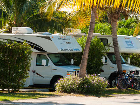 campground: Campground with RVs on Stock Island, Florida. Editorial