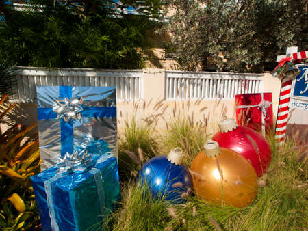 Front yard decorated for Christmas on Key West, Florida. Stock Photo - 12444053