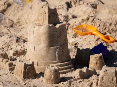 Sand castles on the beach at Key West, Florida. photo