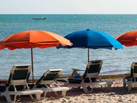 horison: Beach umbrella on Smathers Beach. Stock Photo