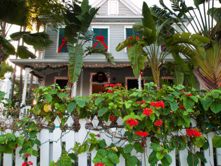 Hose decorated for Christmas on Key West, Florida.