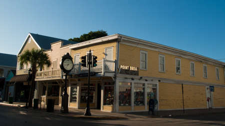 corner clock: Duval Street on Key West, Florida.