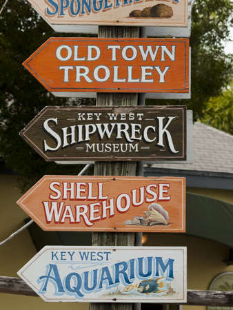Direction sign on Mallory Square at Key West, Florida. Stock Photo - 12257250