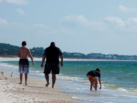 mexico beach: Family on the vacation on Mexico Beach, Florida. Stock Photo