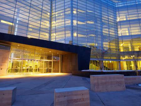 Lindsey-Flanigan Courthouse before sunrise. Stock Photo