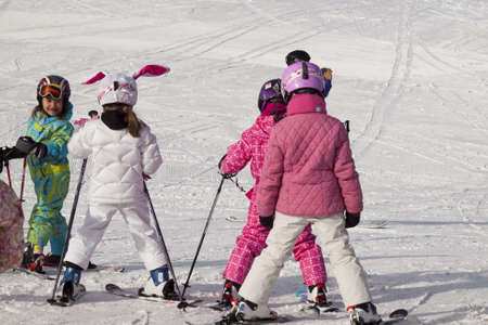 carpathian mountains: Little girls skiing at Vail, Colorado.