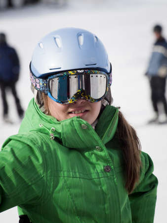 Little girl skiing at Vail, Colorado.