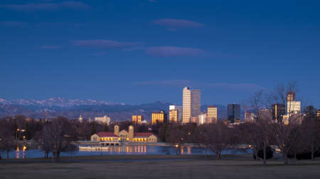 denver skyline at sunrise: Denver skyline at blue hour.