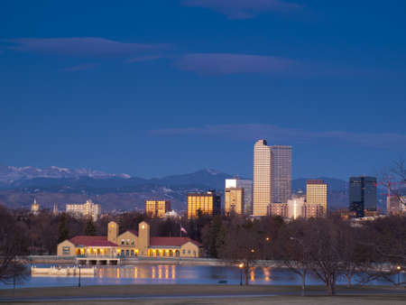 colorado skyline: Denver skyline at blue hour.