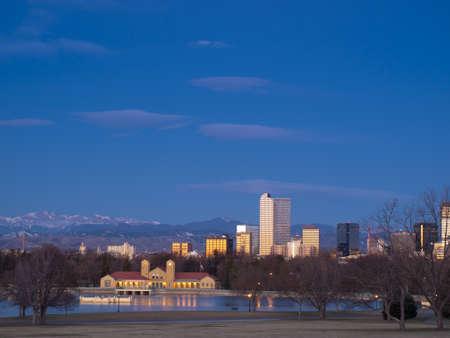 city park boat house: Denver skyline at blue hour.