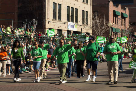 2012 St Patricks Day Parade on Blake Street in Denver, Colorado.