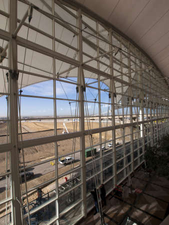 Modern architecture at the Denver International Airport, Colorado.
