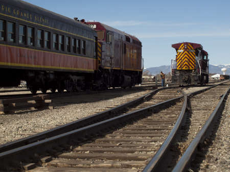 Vintage Rio Grande train at Alamosa train station.