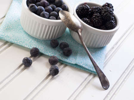 Fresh blackberries and blueberries with non-fat greek yogurt. Stock Photo - 12990762
