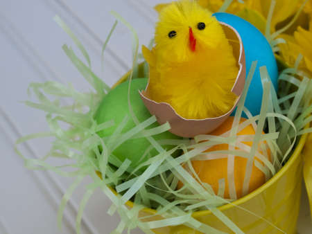 Easter busket with multi-color eggs. Stock Photo - 12990508