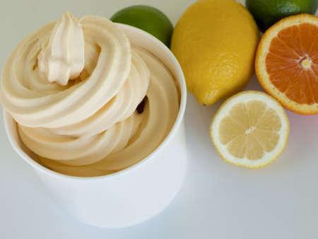 신선한 과일과 열대 냉동 요구르트 한잔. 스톡 콘텐츠