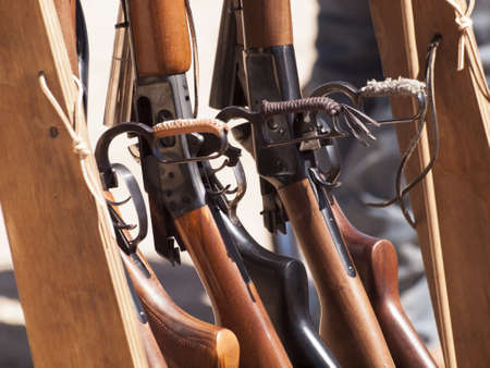 Cowboy Action Shooting Club. The firearms used are based on those which existed in the 19th century American West, i.e. lever action rifle, single action revolver, and shotgun. Stock Photo - 13118608