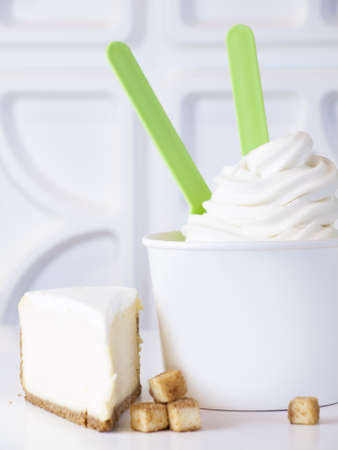 Cup of cheesecake frozen yogurt or soft serve ice cream. Stock Photo - 13198897