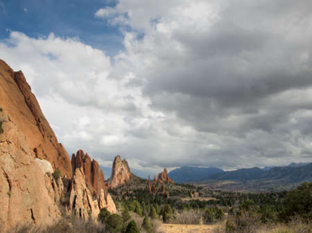 rock formation: Sunset at Garden of the Gods Rock Formation in Colorado.