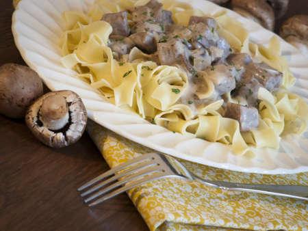 beef stroganoff: Beef stroganoff on egg noodles.