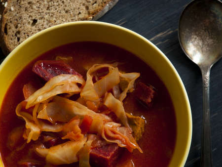 Russian and ukrainian red soup