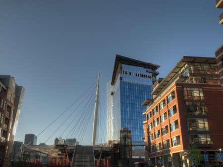 16th street mall: Denver Millennium Bridge at sunrise.