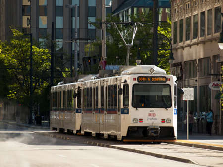 denver 16th street mall: Lightrail on streets of downtown Denver. Editorial