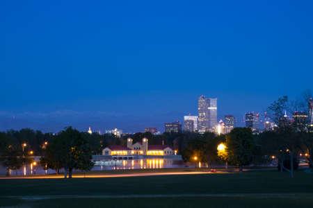 denver skyline at sunrise: Denver skyline at sunrise.