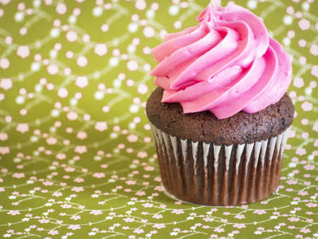 Pink cupcake on a green background.