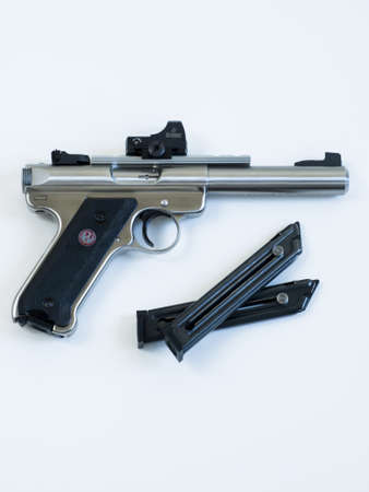 The Ruger MK III is a .22 long rifle semi-automatic pistol manufactured by Sturm, Ruger & Company. It is the successor to the Ruger MK II. Stock Photo - 13669606