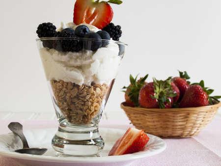 caneberries: Yogurt parfait with blueberries, blackberries, strawberries, and Granola.