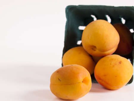 The apricot fruit is a drupe similar to a small peach, from yellow to orange, often tinged red on the side most exposed to the sun; its surface can be smooth or velvety with very short hairs. The flesh is usually firm and not very juicy.Its taste can rang Stock Photo - 13700013