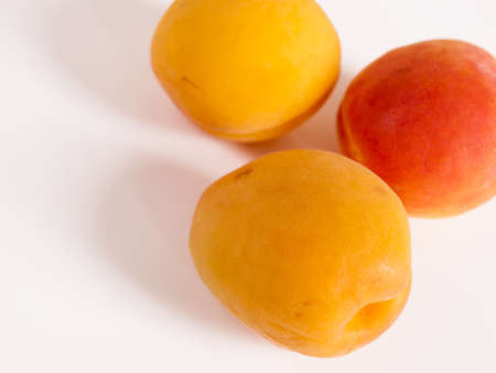 The apricot fruit is a drupe similar to a small peach, from yellow to orange, often tinged red on the side most exposed to the sun; its surface can be smooth or velvety with very short hairs. The flesh is usually firm and not very juicy.Its taste can rang Stock Photo - 13700012