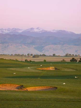Morning on Colorado National Golf Course in Colorado. photo