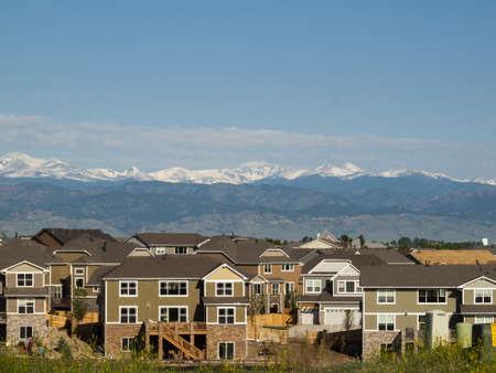 colorado mountains: Suburban subdivision in town of Erie, Colorado.