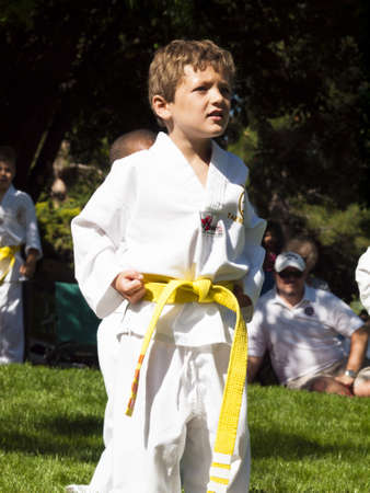 2012 J. W. Kim Tae Kwon Do school belt test in the park.