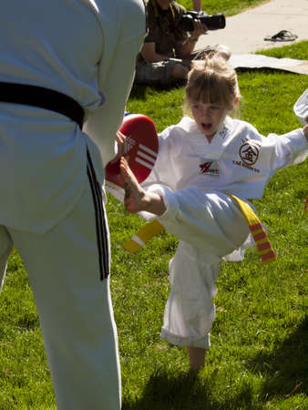 2012 J. W. Kim Tae Kwon Do school belt test in the park. Stock Photo - 14139943