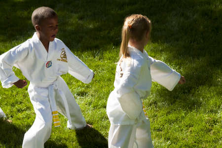 tae kwon do: 2012 J. W. Kim Tae Kwon Do school belt test in the park. Editorial
