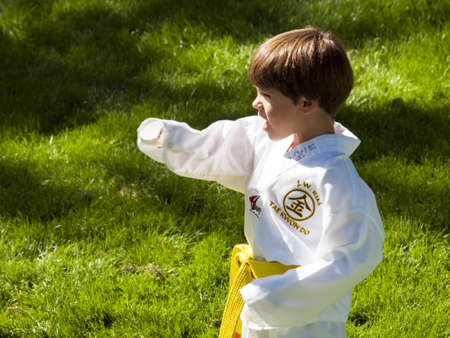 2012 J. W. Kim Tae Kwon Do school belt test in the park.