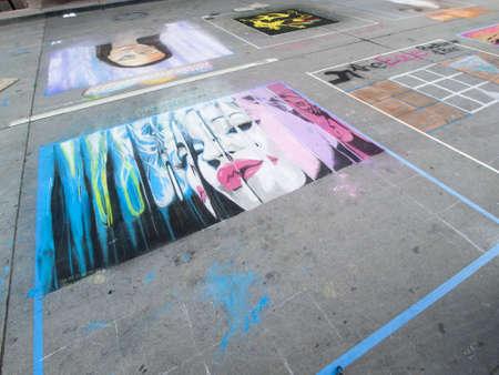 2012 Denver Chalk Art Festival on Larimer Square. Denver, Colorado.