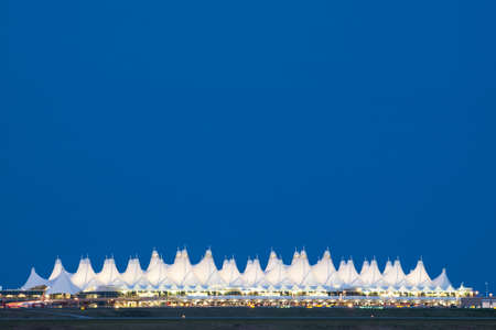 building feature: Denver International Airport  at night. Editorial