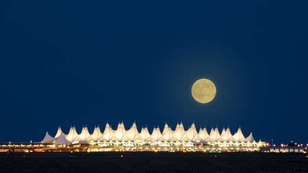 Denver International Airport  at night.