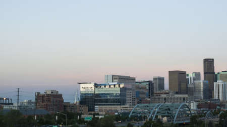 A view of Denver, Colorado downtown right before sunset.